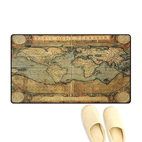 Bath Mat,Ancient Old Chart Vintage Reproduction of 16th Century Atlas Print,Door Mat Outside,Sand Brown Slate Blue,16