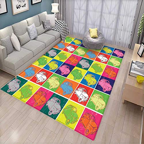 Cars Floor Mat for Kids Italian Cars in Colorful Frames and