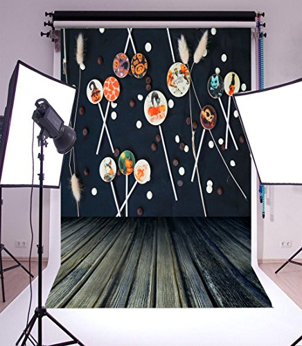 5x7FT Laeacco Vinyl Thin Photography Background Halloween Pumpkin Bonbon Feather Decor Wooden Floor Baby Children Portraits Backdrops Photo Studio Props 1.5(W) x2.2(H) -