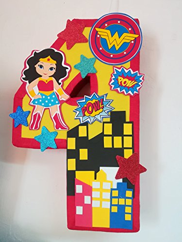 Wonder Woman number 4 pinata, Wonder Woman birthday party, super hero party supplies -
