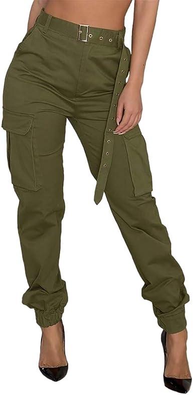 Amazon Com Beauty Garden Pantalones De Trabajo Para Mujer Estilo Casual Cintura Alta 6 Bolsillos Clothing