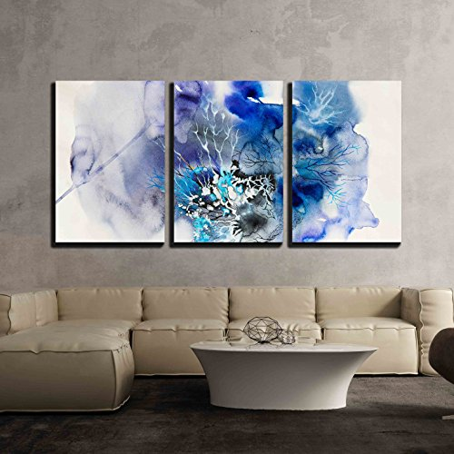 wall26 - 3 Piece Canvas Wall Art - abstract painting of blue flowers - Modern Home Decor Stretched and Framed Ready to Hang - 24''x36''x3 Panels by wall26
