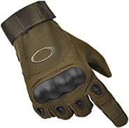 Brfree Tactical Gloves Touch Screen Hard Knuckle Army Military Police Rubber Knuckle Gloves for Army Military