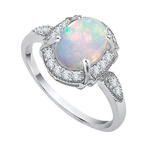 KATARINA Diamond and Oval Cut Opal Fashion Ring in 10K White Gold (1 cttw, G-H, I2-I3) (Size-7.5)