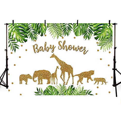 Babies Wallpaper - MEHOFOTO Gold Safari Animal Baby Shower Party Backdrop Jungle Wild One Gold Glitter Safari Photography Background Green Leaves Baby Boy Photo Booth Banner Decorations 7x5ft