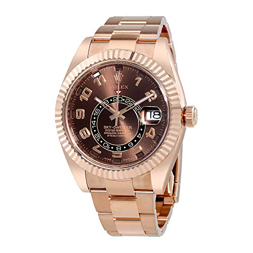 Rolex Sky Dweller Chocolate Dial 18K Everose Gold Rolex Oyster Automatic Mens Watch 326935CHAO (Rolex Yacht Master Ii Stainless Steel Price)