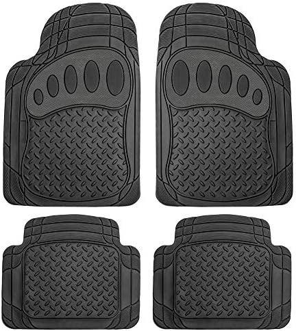 FH Group F11310 Trimmable Rubber Floor Mats (Black) Full Set with Gift – Universal Fit for Cars Trucks and SUVs