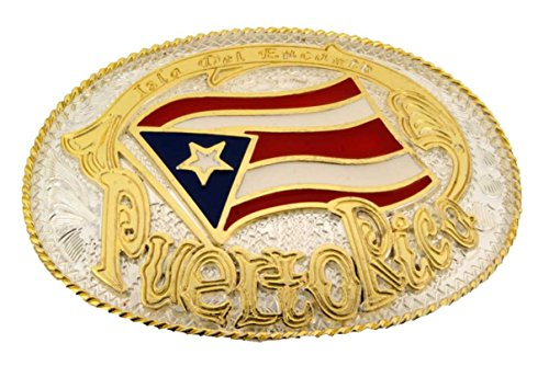 Puerto Rico Rican Flag Bandera Puertorriquena Gold Silver New Oval Belt Buckle.