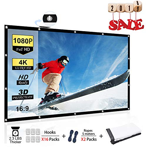 Chalpr Projector Screen, 120 inch 16:9 HD Anti-Crease Foldable Portable Projector Movies Screen, Support Front and Rear Projection for Home Theater Indoor and Outdoor