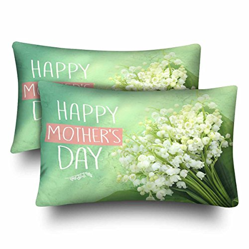 Lily Valley Bouquet The Of (InterestPrint Beautiful Valley Lily Bouquet Mother's Day Pillow Cases Pillowcase Queen Size 20x30 Set of 2, Rectangle Pillow Covers Protector for Home Couch Sofa Bedroom Decoration)
