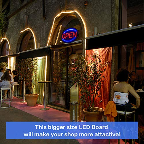 LED Open Sign,23x14inch Larger LED Business Sign,Advertisement Display Board Flashing & Steady Light Open Sign for Business, Walls, Window, Shop, Bar, Hotel by Datedirect (Image #2)