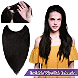 Human Hair Flip on Invisible Hidden String Hair Extension No Clips in Secret