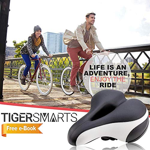 Bike Seat by TigerSmarts Replacement Padded Comfortable Bicycle Seat with Shock Absorbing Springs- Best Bike Saddle Cushion for Electric Bicycles,Mountain and Cruiser Bikes-Improves Riding Comfort by TigerSmarts (Image #6)