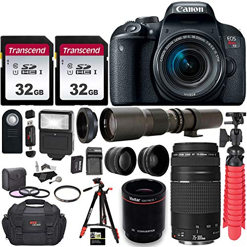Canon EOS Rebel T7i DSLR Camera with EF-S 18-55mm f/3.5-5.6 is II + EF 75-300mm f/4-5.6 III Dual Lens Kit + 500mm Preset f/8 Telephoto Lens W/ 2X (1000mm) HD Teleconverter + 0.43x Wide Angle, 2.2X Pro (Best 500mm Lens For Canon)