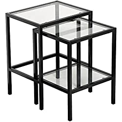 Yaheetech Modern Metal Black Glass Side End Nesting Tables with Storage Shelf (Set of 2)