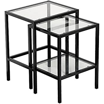 Amazon Com Black Metal Glass Side End Nesting Tables With Shelf Set