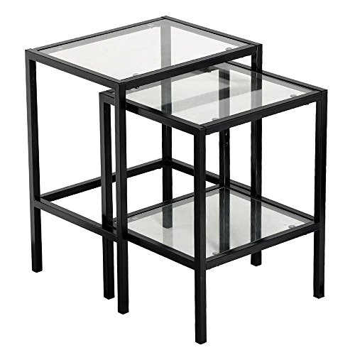 Topeakmart set of 2 modern black metal glass top nesting for Glass top nesting tables