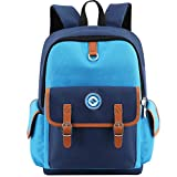 HITOP Elementary School Backpack Bookbags Waterproof Cute Lightweight School Bag For Boys Girls (Blue, Large)