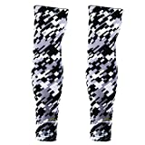 COOLOMG (Pair Men Women Compression Arm Sleeves UV Protection Digital Camo Black Gray Large