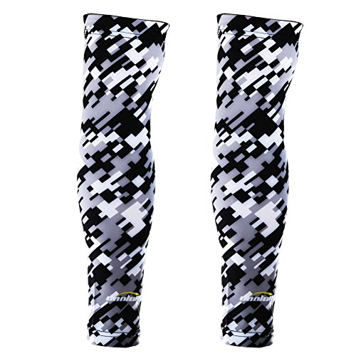 COOLOMG (Pair Men Women Compression Arm Sleeves UV Protection Digital Camo Black Gray Medium by COOLOMG