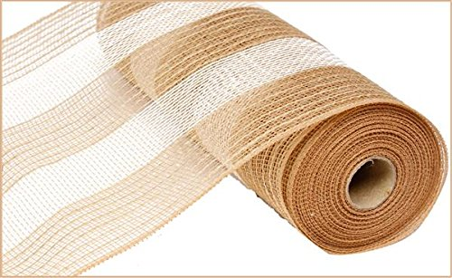 10 Inch x 30 Feet Deco Poly Jute Mesh Ribbon (Natural Brown White Cotton Stripe) : RY800348]()