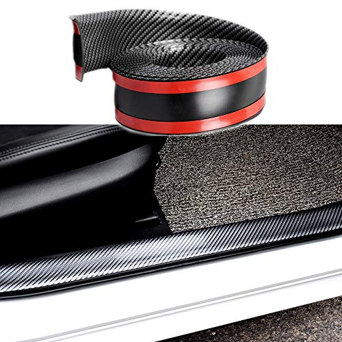 Bumper Protector Guard,Door Sill Protector Entry Guard Carbon Fiber Rubber Scratch-Resistant Accessory Trim Cover for SUV/Cars,DIY Car Styling Arbitrary Cutting(98.4Inches)