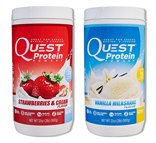 Quest Nutrition Quest Protein jyephH Powder, Strawberries & Cream/Vanilla Milkshake 2lb Tub (1 of Each) by Quest Nutrition