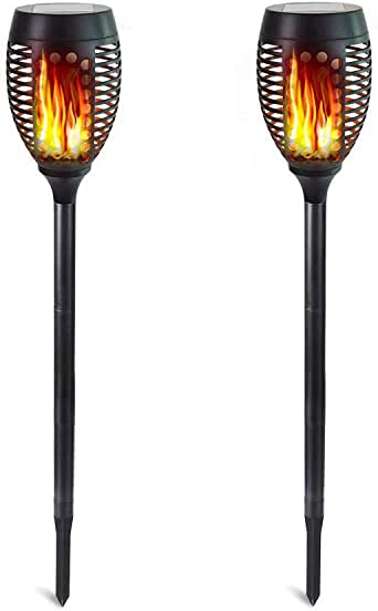 Solar Torch Lights, Waterproof Flickering Flames Torches Lights Outdoor Solar Landscape Decoration Lighting Dusk to Dawn Auto On/Off Security Path Light for Patio Driveway Garden Yard 2 Pack