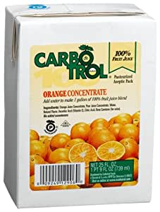 Carbotrol 100% Juice Concentrate, Orange, 25-Ounce Aseptic Containers (Pack of 12)