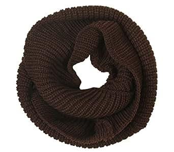 eFuture(TM) Coffee Elegant Soft Wool Classic Knit Infinity Warm Loop Scarf Hood +eFuture's nice Keyring