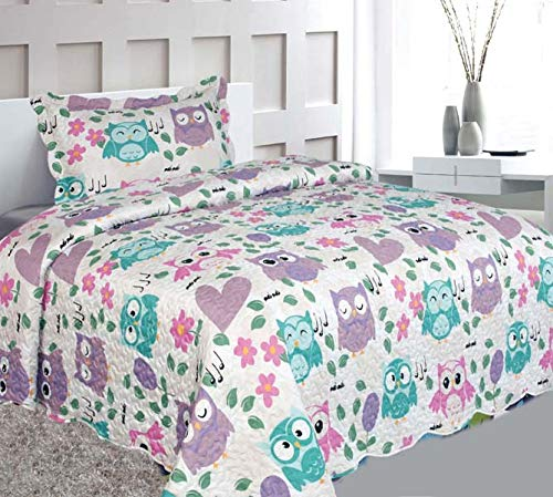 Elegant Home Cute Beautiful Girls Mutlicolor Pink White Blue Purple Floral Owl Hearts Design 2 Piece Coverlet Bedspread Quilt Kids Teens/Girls Twin Size # Owl (Twin Size) by Elegant Home Decor