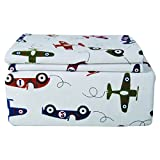 4 Piece Double Kids Full Airplanes Sheet Set Flannel, Cute Adorable Childrens Bedding Featuring All Over Airplanes Flying Around with Cars, White Green Blue, Unisex
