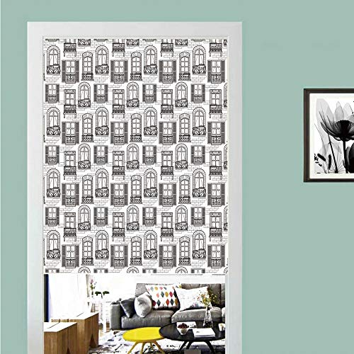 3D printed Magic Stickers Door Curtain,Geometric,Apartment Building Urban Architecture European Windows City Town Illustration Decorative,Grey White ,Privacy Protect for Kitchen,Bathroom,Bedroom(1 Pa