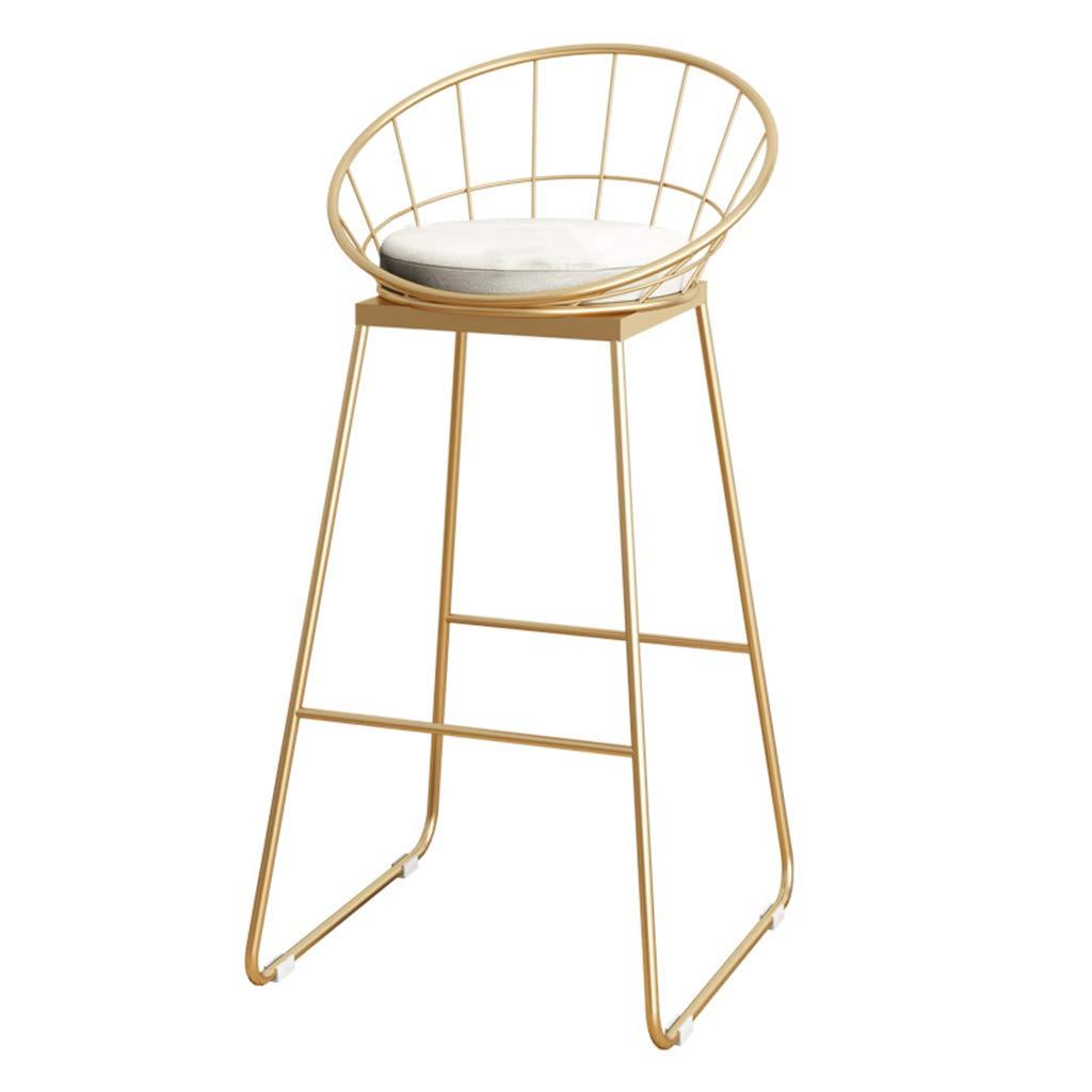 gold leg Grey cushion NLLPZ-STOOL Home Furniture Fashion Wrought Iron Metal Bracket Bar Stool Kitchen Breakfast Stool Chair with Backrest Sponge Pad Design (Sitting Height  75CM) (color   gold Leg, Size   Grey Cushion)
