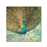 Trademark Fine Art Teal Peacock on Gold by Danhui Nai Wall Decor, 24 by 24-Inch