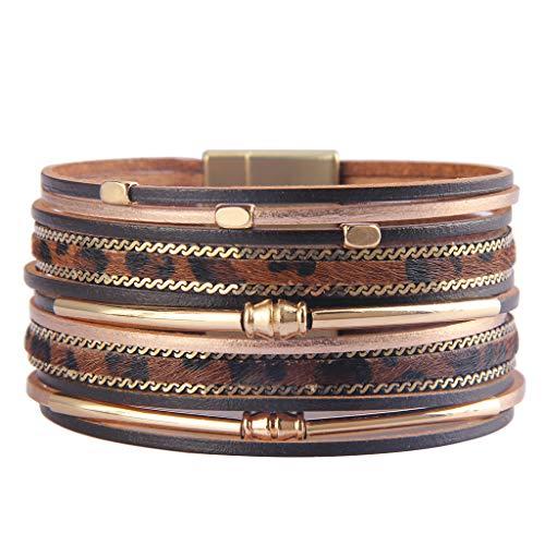 Jenia Leather Cuff Bracelet Gold Plated Wrap Bracelets Leopard Skin Braided Bracelet Bohemian Gift for Women, Teens Girls, Wife, Sister Cuff Gold Plated Bracelet