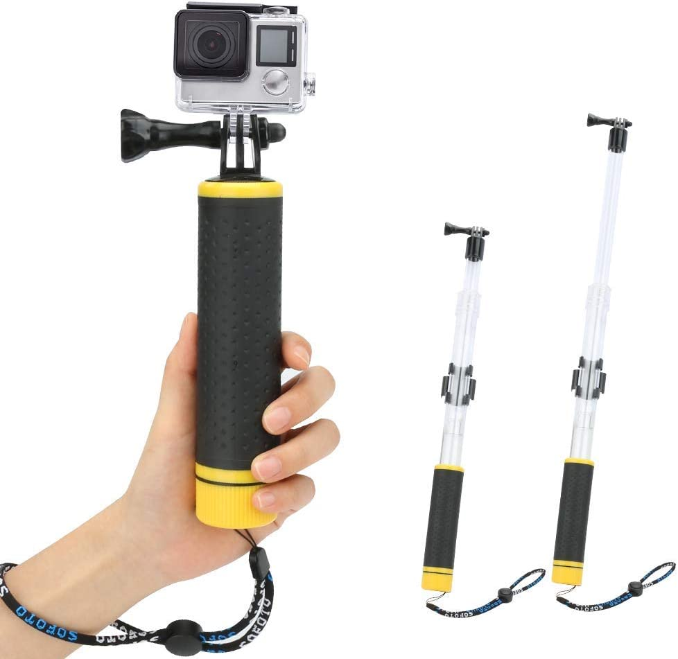2 in 1 Floating Hand Grip Waterproof Telescopic Pole Number-One Waterproof Selfie Stick Adjustable Extension Monopod Pole for GoPro Hero 7//6//5//4//3+//3//2//1 with Cradle for WiFi Remote