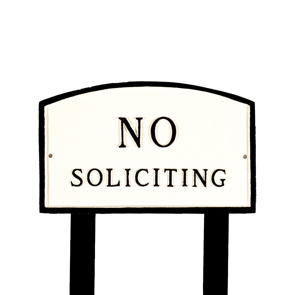 Montague Metal Products SP-10L-WB-LS Large White and Black No Soliciting Arch Statement Plaque with 2 23-Inch Lawn Stakes