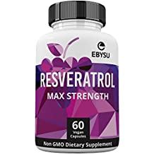 EBYSU Resveratrol - 1200mg Maximum Strength Trans Resveratrol Antioxidant Supplement - Pomegranate, Green Tea, Quercetin, Grape Seed Extract and Acai - 60 Vegan Capsules