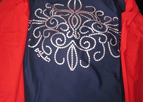Klassik Full Cover Bescheidene Badebekleidung Modest Muslim Swimwear Beachwear Burkini für muslimische frauen - Dunkelblau mit roten Ärmeln