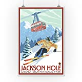 Wyoming - Jackson Hole Grand Teton Skiing (12x18 Art Print, Wall Decor Travel Poster)