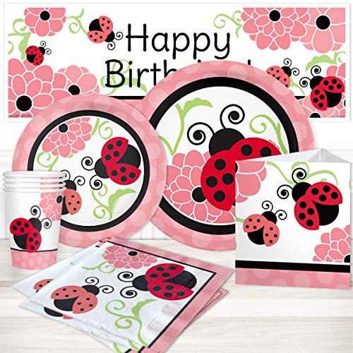Birthday Direct Ladybug Party Kit for up to 16 Guests Includes Plates, Napkins, Cups, Banners, and Decorations - 68 pieces - Red Garden Party Supplies for Girls Birthday -