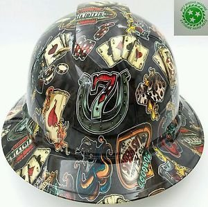 Wet Works Imaging Customized Pyramex Full Brim Wicked Gambler Lucky 7 Hard Hat With Ratcheting -