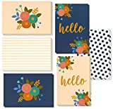 48 Pack All Occasion Hello Note Cards - Assorted Greeting Card Bulk Box Set, 6 Modern Floral Flower Designs, Blank on The Inside, Notecards with Envelopes Included, 4 x 6 Inches