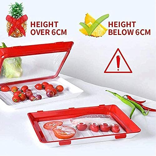 Food Plastic Preservation Tray- stackable meals preservation trays- Reusable contemporary tray meals garage for Vegetable Fruit Meat Kitchen, Office, School (4)