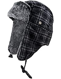 Big and Tall Men's Classic Trapper Hat w/ Faux Fur Ear Flaps & Forehead, Stay Warm