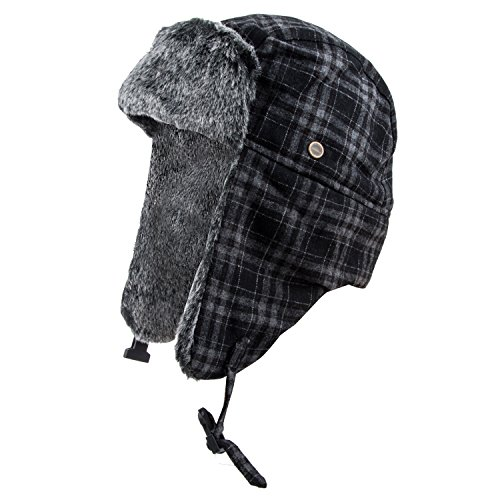 Pierre Cardin Men's Trapper Hat (Plaid Black, 4XL)