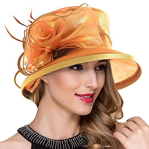 (Lady Church Derby Dress Cloche Hat Fascinator Floral Tea Party Wedding Bucket Hat S051 (S043-Gold))
