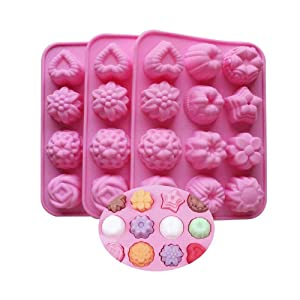 BAKER DEPOT Silicone Bakeware Mold For cake chocolate Jelly Pudding Dessert Molds 12 Holes With Flower Heart Shape Set of 3