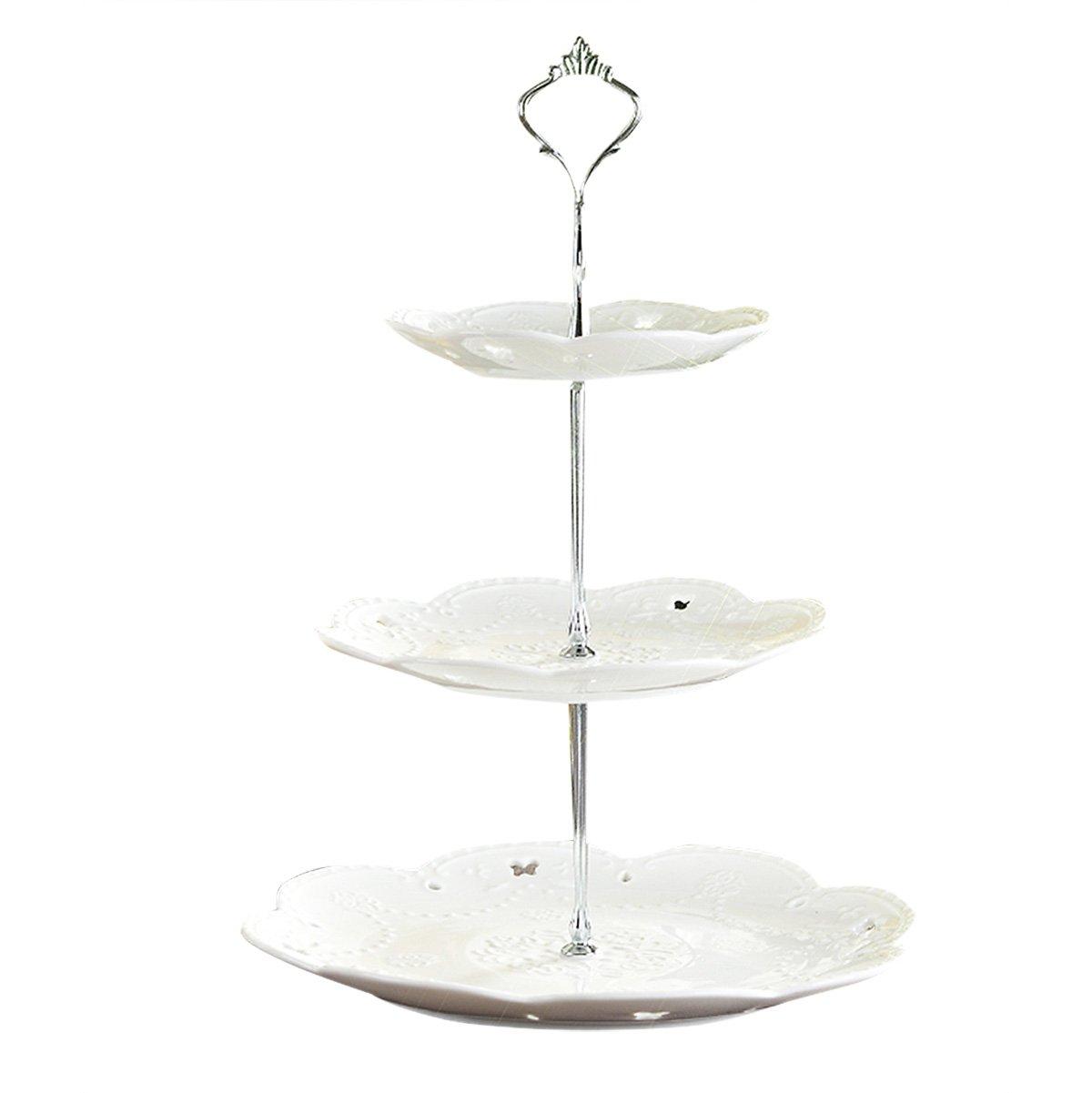 TiaoBug 3 Tier Cake Stand Cake Plate Display Holder Handle Fittings for Tea Shop Room Hotel (Silver) by TiaoBug (Image #2)